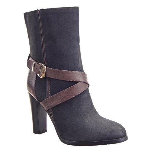 Sopily - Chaussure Mode Bottine Stiletto mi-mollet femmes boucle Métallique Talon haut bloc 9.5 CM - Intérieur fourrure synthétique - fourrée - Noir