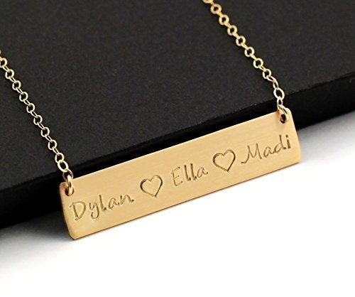 Mom Gift . Personalized Mommy Necklace . Gold Bar Necklace . Mother's Jewelry . Children's Names . Custom Name Necklace . 14k Gold Filled