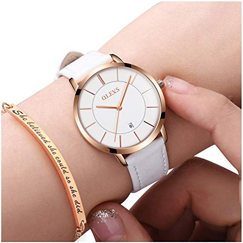Watch Ladies White Bracelet (Ultra Thin Minimalist Leather Watches and Bracelet Gift Set for Women with White Dial Date Calendar Rose Gold Bezel,OLEVS Ladies Simple Business Casual Dress Analog Quartz Wrist Watch Waterproof 3ATM)