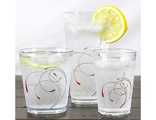 4PCS Splendor Acrylic Drinkware Beverage Glasses Red Grey 19-oz Tumbler Tkslick from Unknown