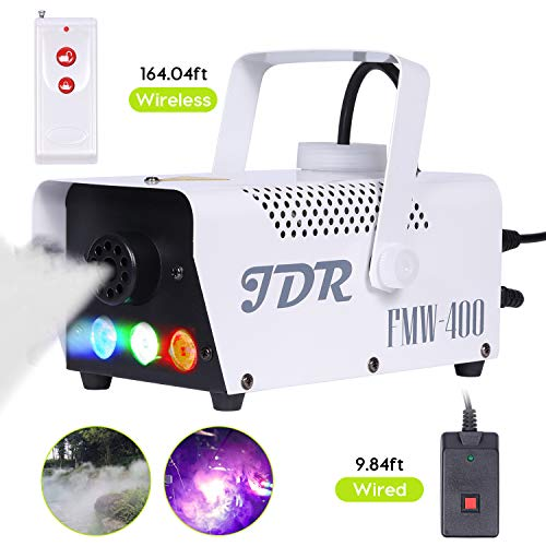 JDR Fog Machine with Controllable lights, DJ LED Smoke Machine(Red,Green,Blue) with Wireless and Wired Remote Control for Christmas Parties Weddings Halloween Holiday, with Fuse Protec