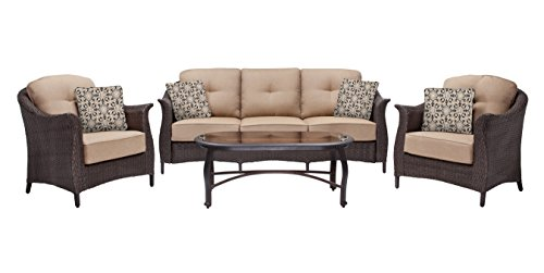 Hanover Gramercy 4-Piece Wicker Patio Set Brown GRAMERCY4PC