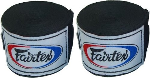 Fairtex Elastic Cotton Handwraps HW2 Hand Wraps Color Black Bleach Blue Red White Pink Purple Thaialnd used in Muay Thai, Boxing, Kickboxing, MMA (HW2, Black)