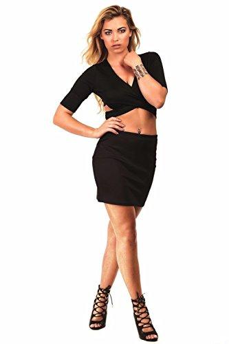 Pilot la fe de mini falda lisa bodycon negro