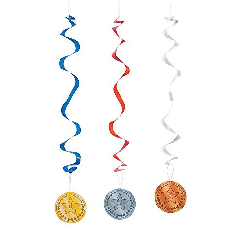 Fun Express - Award Medal Hanging Swirls - Party Decor - Hanging Decor - Spirals & Swirls - 12 Pieces