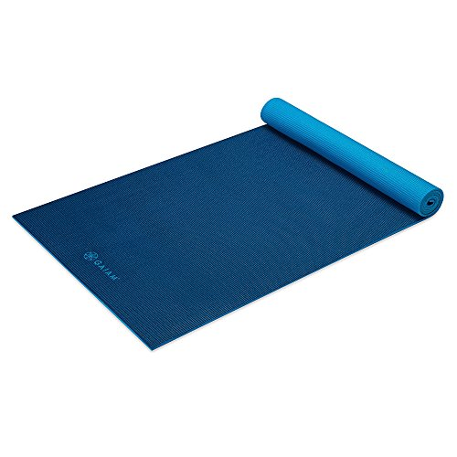 Gaiam Yoga Mat Premium Solid Color Reversible Non Slip Exercise & Fitness Mat for All Types of Yoga, Pilates & Floor Workouts, Navy/Blue, 6mm (Best Hot Yoga Mat 2019)