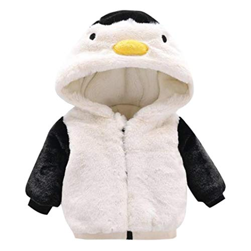 Dinlong Autumn Winter Long Sleeve Hooded Coat Girls Boys Kids Baby Solid Outwear Cloak Zipper Cute Penguin Fleece Jacket Thick Fur Warm Coat Clothes for Toddler Infant Children (White, 18-24 Month)