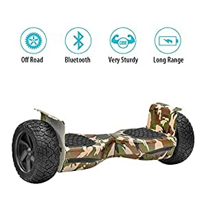 NHT Hoverboard - All Terrain Rugged 8.5 Inch Wheels Off-Road Electric Smart Self Balancing Scooter with Built-in Bluetooth Speaker LED Lights - UL2272 Certified (Amy Green Camouflage)