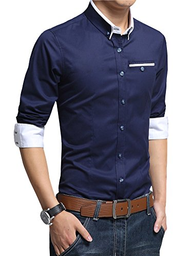 FRTCV Mens Slim Fit Shirts Long Sleeve Button Down Dress Shirt Dark Blue 1306 Tag 3XL/US M Powder Blue Flannel