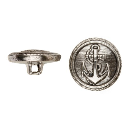 C&C Metal Products 5018 Anchor Metal Button, Size 36 Ligne, Antique Nickel, 36-Pack by C&C Metal Products Corp