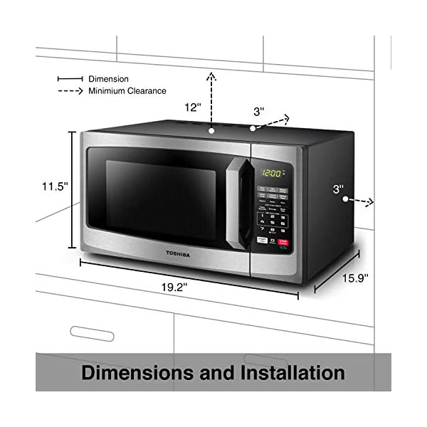 Toshiba EM925A5A-SS Microwave Oven with Sound On/Off ECO Mode and LED Lighting 0.9 cu. ft. Stainless Steel (Renewed) 4