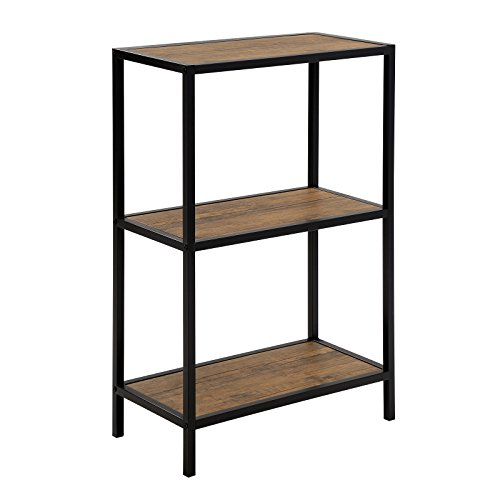 SONGMICS Bookshelf, 3-Tier Multifunctional Storage Shelf Rack, Rustic Bookcase with Metal Frame,Shelving Unit for Living Room,Kitchen, Sturdy and Easy Assembly ULSS90BX