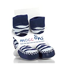 Mocc Ons Clever Little Slipper Socks That Keep Toes Warm - Blue Zebra Stripes, Size 18-24 Months