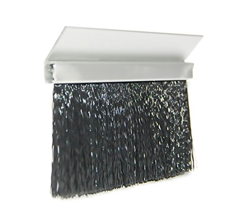 JaCor Medium-Duty Brush Seal; Clear Aluminum 45degree Holder, Black Polypropylene Brush; 2.0'' Brush x 1.0'' Holder (45deg) x 96'' Long by JaCor, Inc