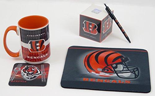 Cincinnati Pen Bengals (Cincinnati Bengals Work Station, Computer, Set. Includes Large Coffee Mug, Neoprene Mouse pad and Coaster, Retractable Pen and a 1000 Sheet Notepad Cube. 5 Peace Set. 6)