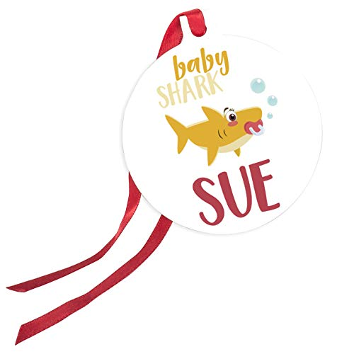 (Personalized Christmas Ornaments Gifts with Ribbon - Shark Family with Your Name or Text - Baby Shark, Daddy Shark, Mommy Shark, Grandma Shark, Birthday Gifts - Baby Shark)