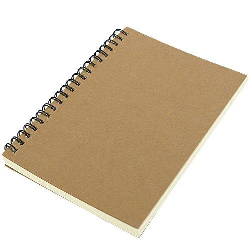 100 Sheets Creative Spiral Bound Coil Kraft Cover Art Sketch Book Graffiti Blank Note Book Journal Sketching Paper 4.7×7 Inch