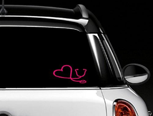 (Pink Stethoscope Car Window Decal )