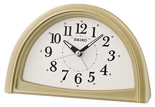 (SEIKO Analogue Beep Alarm Clock, Gold, 11.8 x 8.5 x 18.5 cm)