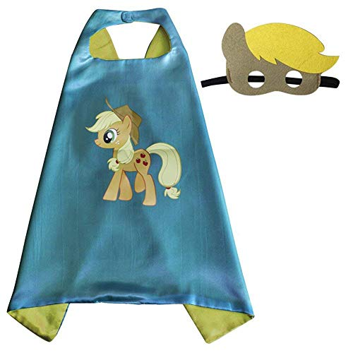 Halloween Unicorn Costumes for My Little Pony Dress Up Capes Mask Horse Costumes for Kids Girls Boys (Apple Jack)