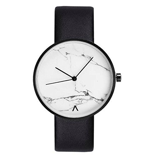 Unisex Men Women Watch Quartz Movement Couple Watches Marble Cover Dial Genuine leather Strap Boy Girl Watches Casual Students Wristwatch (White) by AEHIBO (Image #3)