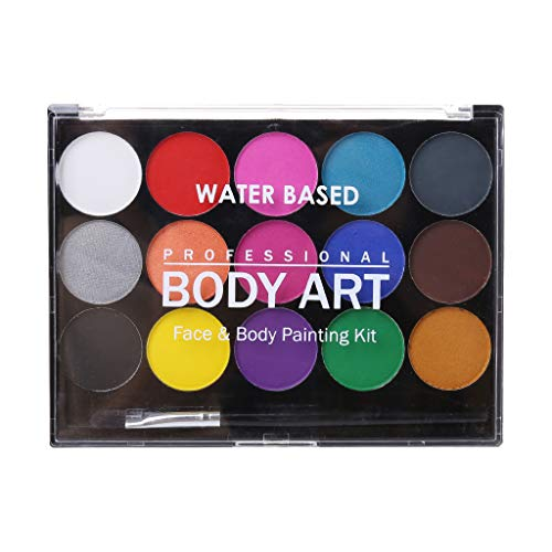 oukery 15 Colors Non Toxic Water-soluble Body Paint Pigments Makeup Face Painting Kit With Brush For Christmas Fancy Carnival -