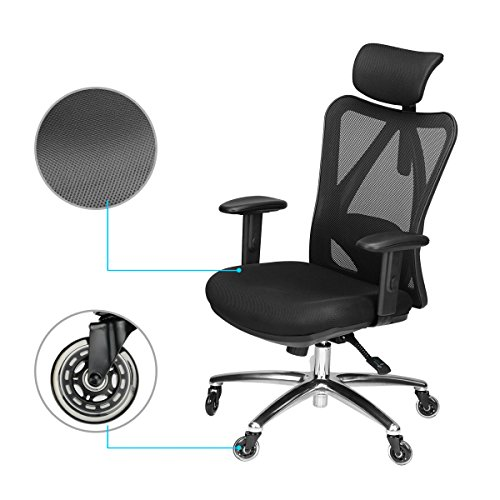 Duramont Ergonomic Adjustable Office Chair with Lumbar Support and Rollerblade Wheels - High Back with Breathable Mesh - Thick Seat Cushion - Adjustable Head & Arm Rests, Seat Height - Reclines by Duramont (Image #1)