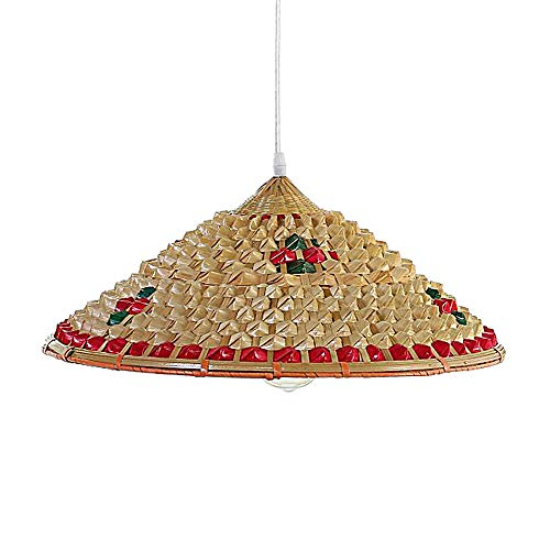 (Sunny Hill Lantern Shades Farmhouse Decor Bamboo Hat Shape Pendant Light Woven Bamboo Pendant Lampshades Tropical Boho Chandelier (Style 1))