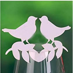 Worldoor® 50 Cute Kissing Love Birds Wedding Table Numbers Name Place Cards Wine Glass Party Decoration Centerpieces/ White Love Bird Laser Cut Pearl Paper Wine Glass Place Escort Card Table Setting Wedding Party Decoration/Laser Cut Table Paper Place Cards Wedding Party Table Decoration more color Decorative LOVE BIRDS Wedding Paper Cards