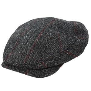 Mucros Irish Cap Wool Tweed Charcoal Herringbone Made in Ireland