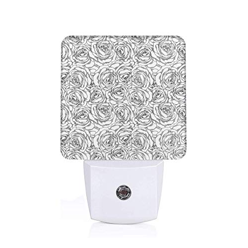 Colorful Plug in Night,Romantic Nature Symbols in Sketch Art Style Monochromatic Rose Bouquet,Auto Sensor LED Dusk to Dawn Night Light Plug in Indoor for Childs Adults