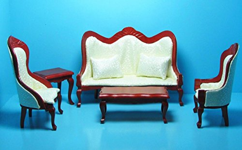 Dollhouse Miniature Victorian Living Room Sofa & Chairs Cream & Mahogany T - My Mini Fairy Garden Dollhouse Accessories for Outdoor or House ()