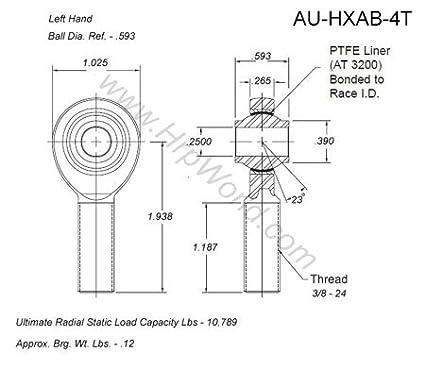 Aurora Bearing Company HXAB-4T; .250 Bore LH 3//8-24 Thread