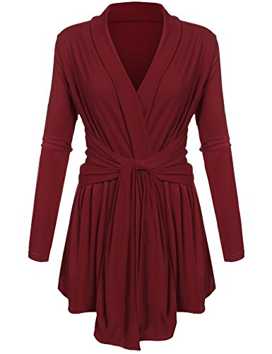 BEYOVE Women Open Front Belted Long Sleeve Basic Soft Knit Cardigan Sweater Wine Red (Belted Maternity Sweater)