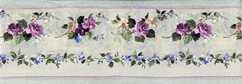 Pink Green Violet Floral Wallpaper Border 76555 PP