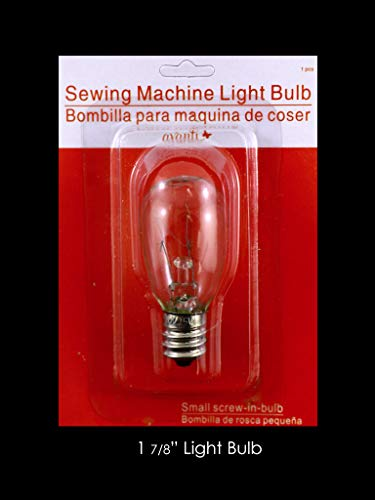 Small Screw-in Light Bulbs for Domestic Sewing Machine, 1 7/8