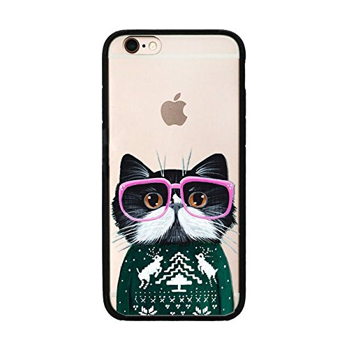 iPhone 6 / 6S , Nerdy Glasses Cute Cat Black TPU Silicone Soft Rubber iPhone 6 Case Cover (Cat With Pink Glasses)