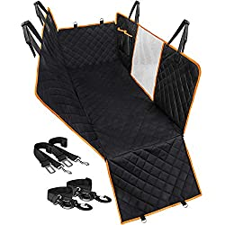 Upgraded Dog Seat Cover for Car Back Seat, Waterproof Dog Hammock Back Seat Covers for Pets with Side Flaps & 2 Dog Seat Belts Durable Soft Scratchproof Nonslip Backseat for Cars Trucks and SUVs