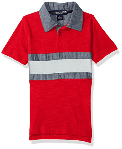 U.S. Polo Assn. Toddler Boys' Short Sleeve Stripe Pique Polo Shirt, Engine Red RG58, 3T