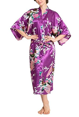 SexyTown Women's Long Floral Peacock Kimono Robe Satin Nightwear with Pockets X-Small Dark Purple