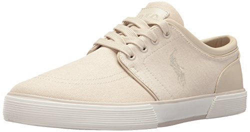 Polo Ralph Lauren Men's Faxon Low-Canvas/Jrsy Hthr Sneaker, Beige, 9 D US