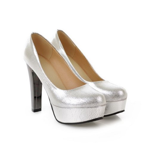 VogueZone009 Womens Closed Round Toe High Heel Chunku Platform Soft Material PU Solid Pumps, Silver, 6 UK