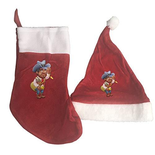 B-B-E-A-H Cowboy Print Christmas Stockings and Hat Santa Hat+Socks Decorations Ornaments/Gift Bags Set