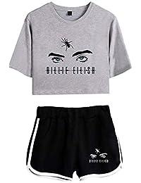 Eudolah Girls' Billie Eilish Fashion Sportswear Summer Crop Top T-Shirts and Shorts Set Casual Sleepwear