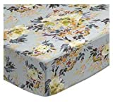 SheetWorld Fitted Pack N Play Sheet Fits Graco 27 x 39 - Modern Floral Garden Gray - Made in USA