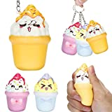 XUANOU Squishies Kawaii Ice Cream Slow Rising Cream Scented Keychain Stress Relief Toys