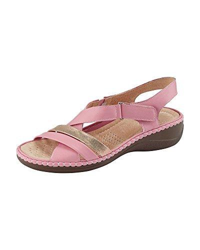 Cotton Traders Womens Ladies Casual Adjustable Comfort Cross Over Heeled Sandals Summer Shoes Pink
