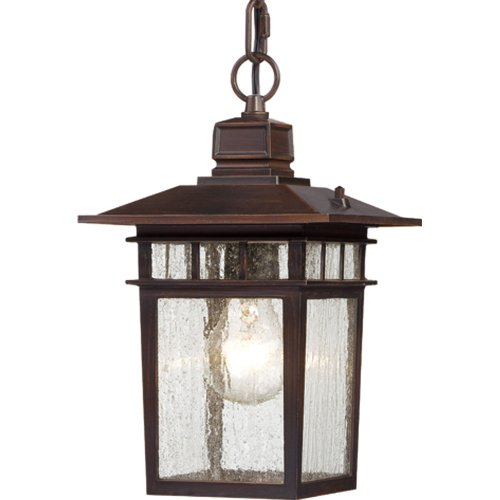 Nuvo Lighting 60/4955 Cove Neck One Light Hanging Lantern 100 Watt A19 Max. Clear Seeded Glass Rustic Bronze Outdoor Fixture (Lighting Hanging Lantern Fixture)