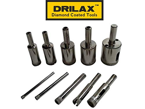 Drilax 10 Pieces Diamond Coated Drill Bit Set 5/32 3/16 1/4 5/16 3/8 1/2 5/8 3/4 7/8 1 Inch Tile Glass Fish Tank Granite Ceramic Porcelain Bottle DIY Kitchen Bathroom Shower Lamps