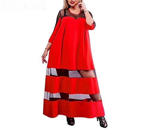 6XL Mesh Women Dress Big Size Loose Long Dress Plus Size Patchwork Female Casual Summer Dress Maxi Robe 03 (Regal Lace Robe)